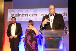 Andrew Woolgar picking up our award